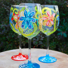 Flower Power Hand Painted Wine Glasses