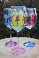 Load image into Gallery viewer, Flip Flops Hand-painted Wine Glasses