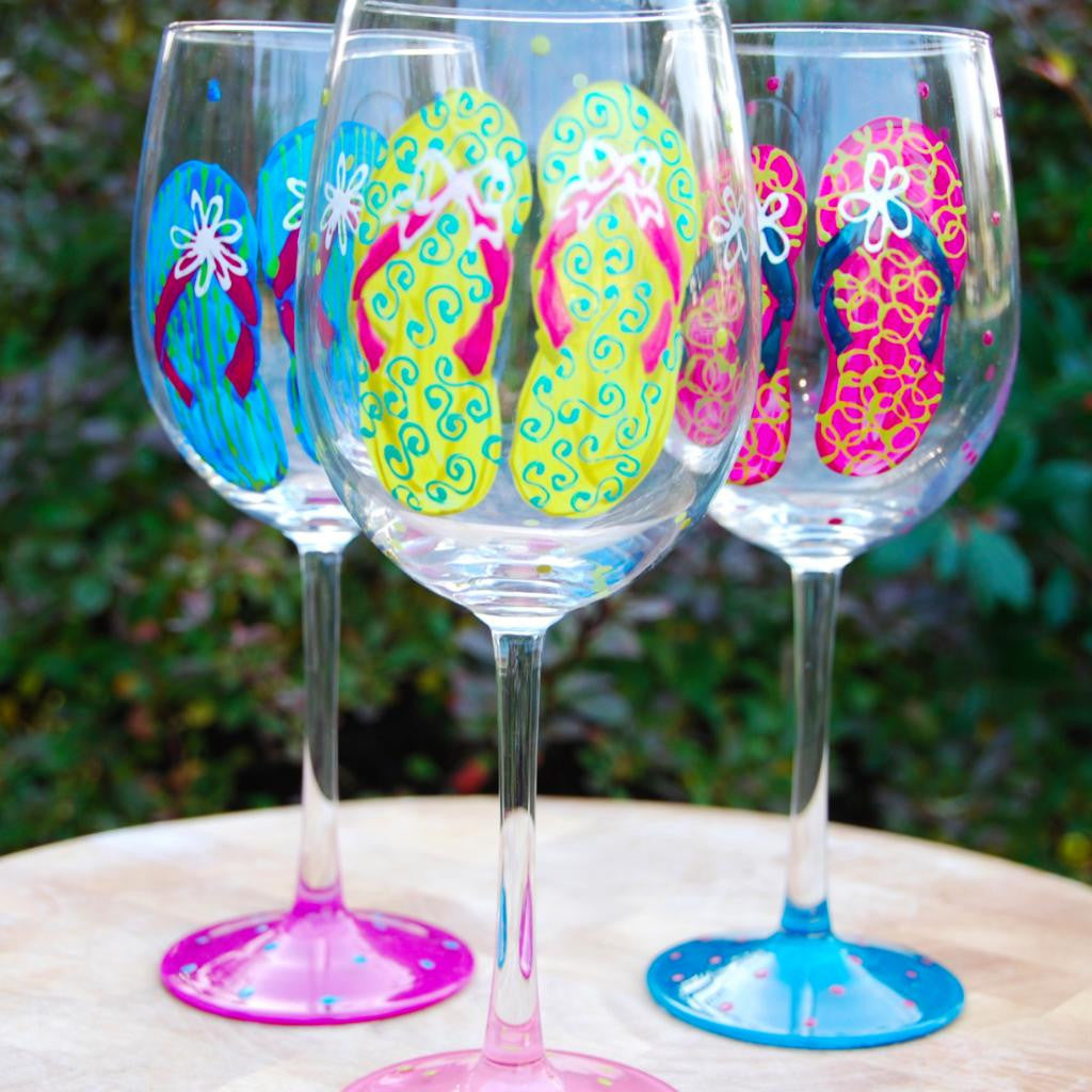 cc1acaec5e6f Description. Perfect for the beach lover! Our hand painted flip flop wine  glasses ...