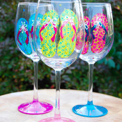 Flip Flops Hand Painted Wine Glasses