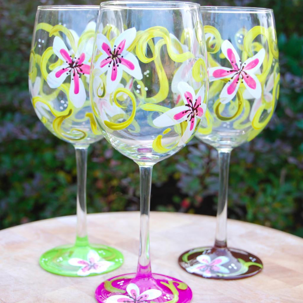 Lily Hand Painted Wine Glasses Glorious Goblets