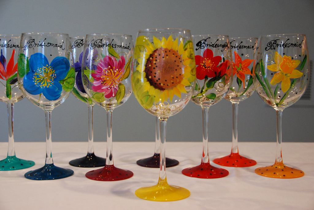 Bridal Party Floral Bouquet Hand Painted Custom Wine Glasses