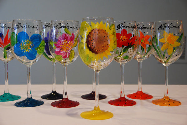 Bridal Party (Floral Bouquet) Hand Painted, Custom Wine Glasses