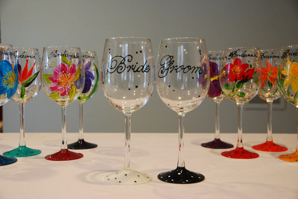 Happy Couple Hand Painted Wedding Wine Glasses