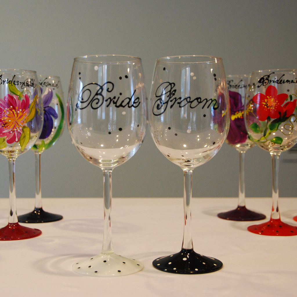 Happy Couple Hand Painted Wedding Wine Glasses – Glorious Goblets
