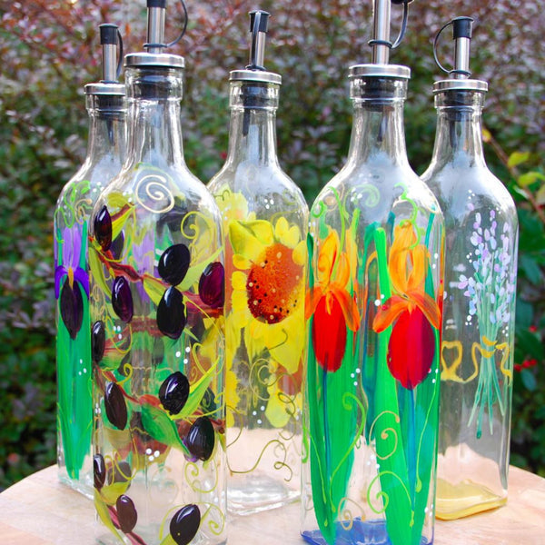 Hand Painted Glass Decanter Bottle