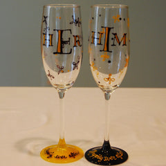 Happily Ever After Hand Painted Wedding Champagne Flutes