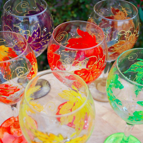 Maple Hand Painted Wine Glasses