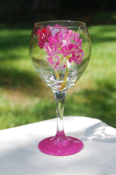 Geranium Hand Painted Wine Glasses & Glassware
