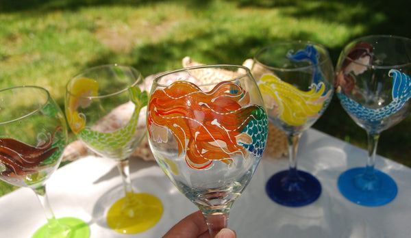 Mermaid Hand Painted Wine Glasses