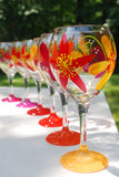 Cavalier Flower Hand Painted Wine Glasses