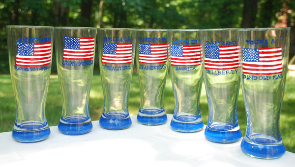 Stars & Stripes - Hand Painted, Personalized Glassware