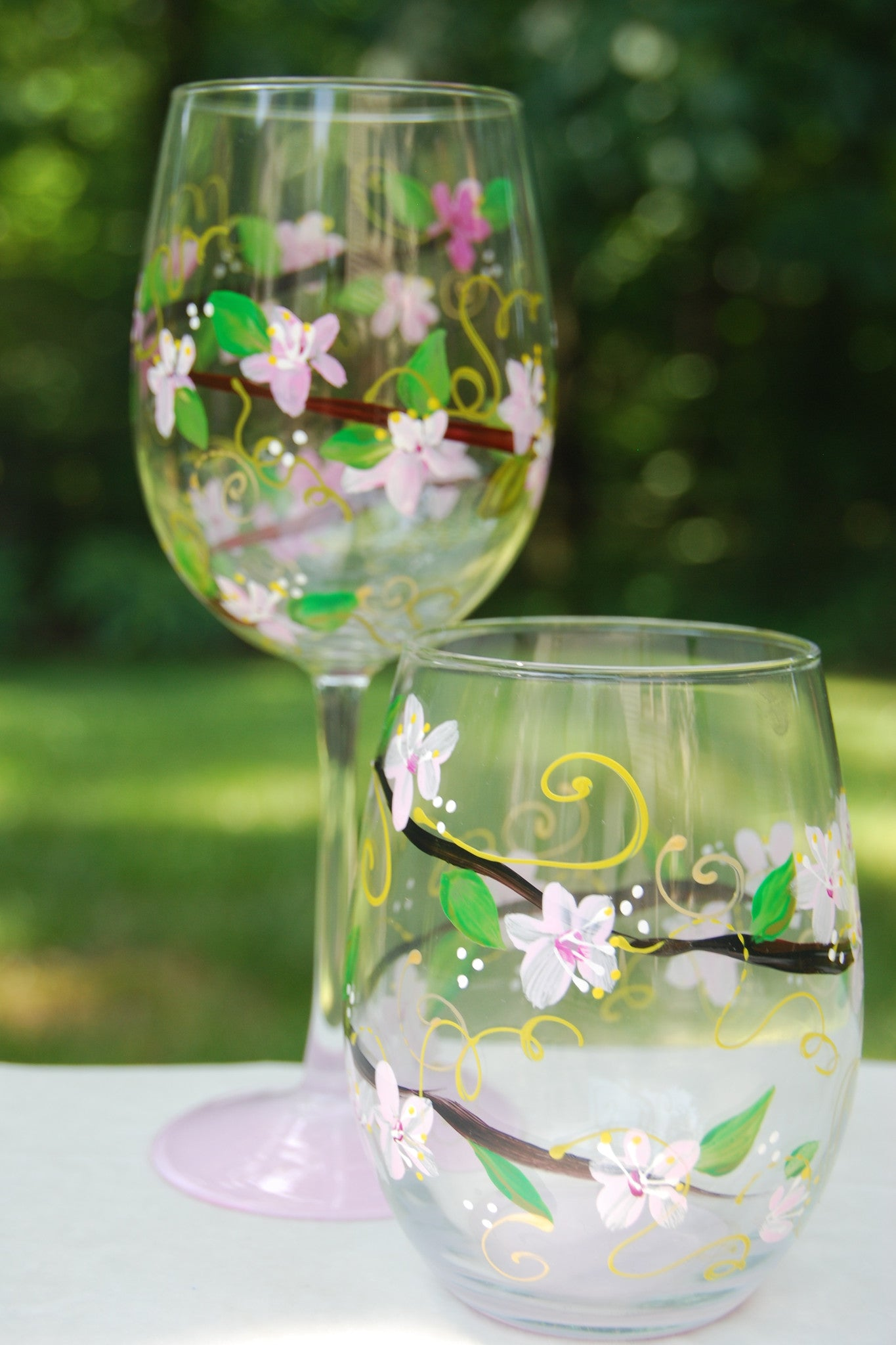 Cherry Blossom Hand-painted Wine Glasses