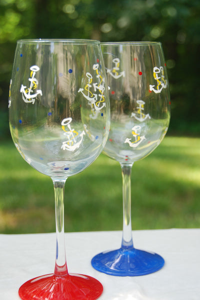 Anchors Away Hand Painted Wine Glasses and Glassware