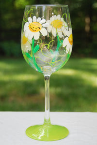 Daisy Flower Hand-painted Wine Glasses