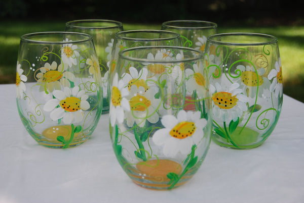 Daisy Flower Hand Painted Wine Glasses