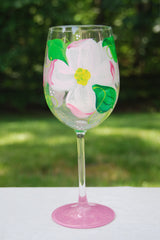 Dogwood Flower Hand Painted Wine Glasses