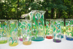 Garden Party Hand Painted Glassware