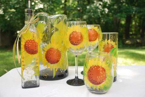 Sunflower Hand Painted Wine Glasses