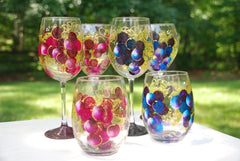 Big Grape Hand Painted Wine Glasses