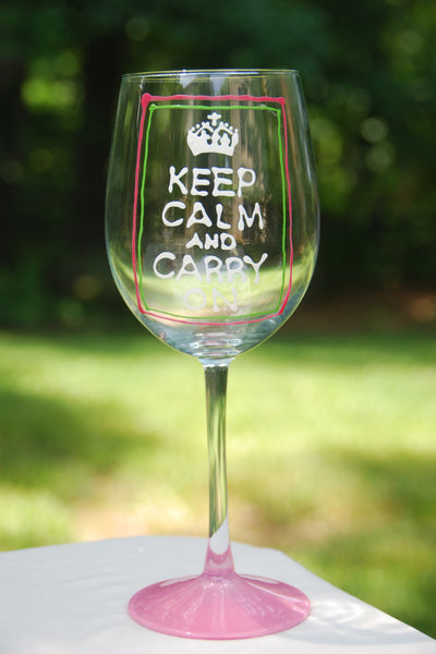 Keep Calm and Carry On Hand Painted Wine Glasses