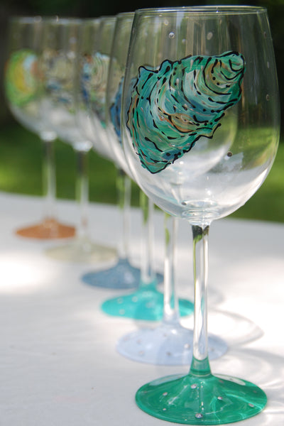 Oysters Hand Painted Wine Glasses