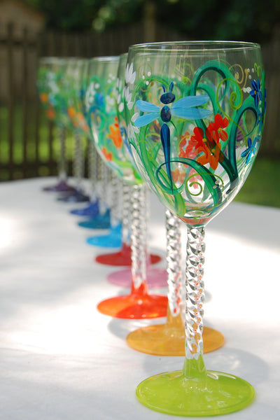 Meadow Hand Painted Wine Glasses