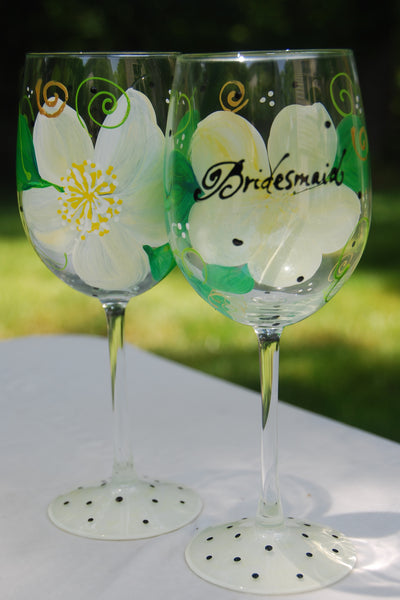 Bridal Shower Hand Painted and Custom Wine Glasses