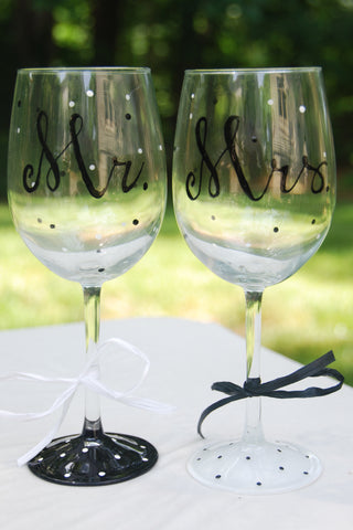 Mr. & Mrs. Hand Painted Wine Glasses