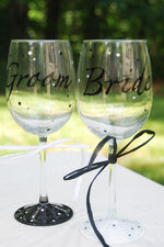Load image into Gallery viewer, Mr. & Mrs. Hand Painted Wine Glasses