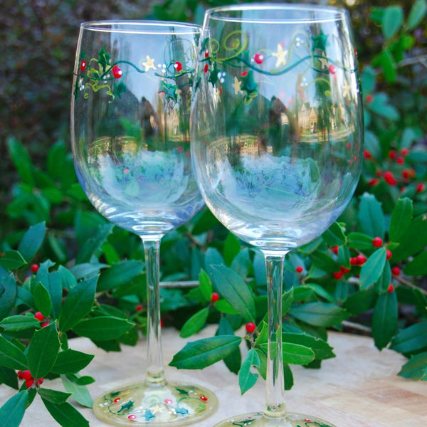 Holly Vine Hand Painted Wine Glasses