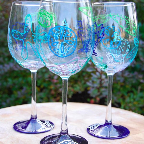 Ocean Blue Hand Painted Wine Glasses