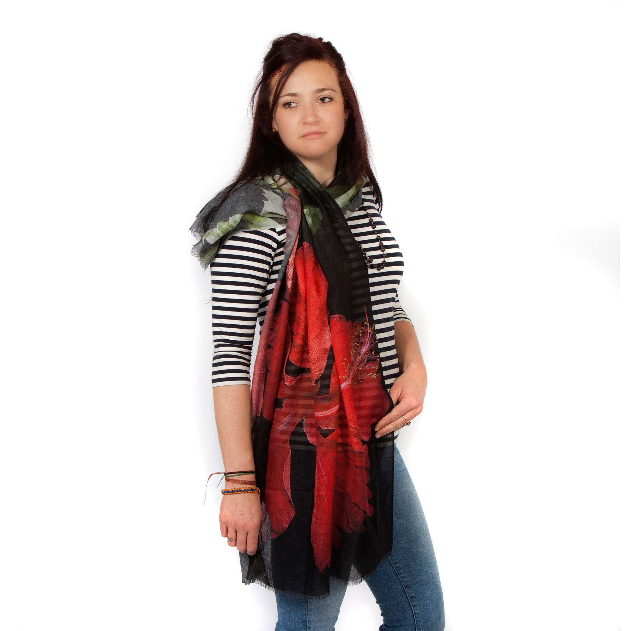 Red Hibiscus Scarf Modal