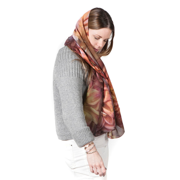 Orange Dahlia Scarf Georgette