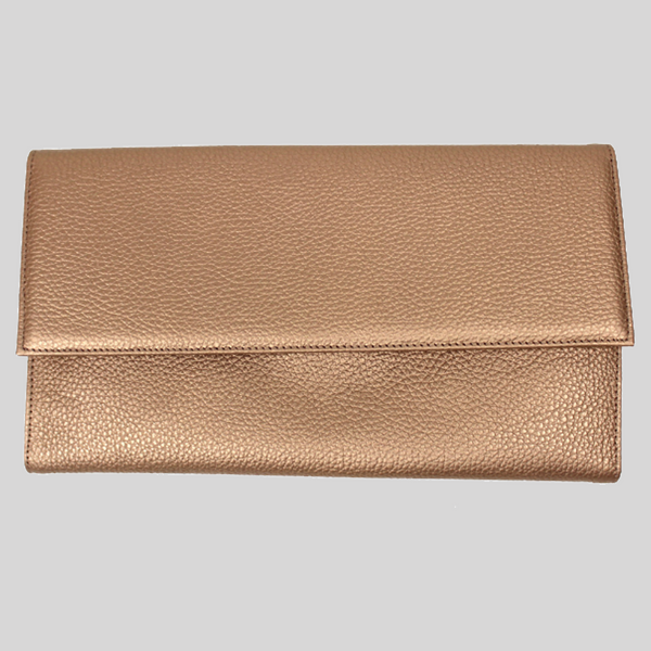 Rose Gold Leather Travel Wallet