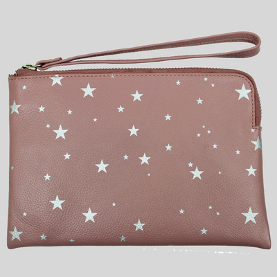 Star Print Leather Pouch with Wrist Strap - blush