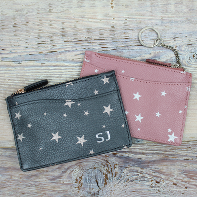 Star Print Card & Keys Purse