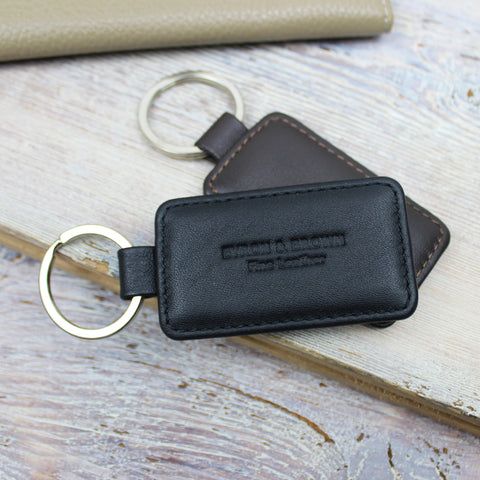 Smooth Nappa Leather Rectangular Key FOB