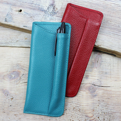 Leather Glasses Case with Pen Holder