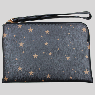 Star Print Leather Pouch with Wrist Strap - gun metal