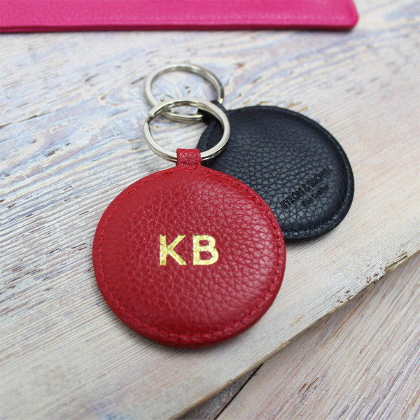 Textured Nappa Round Key Ring