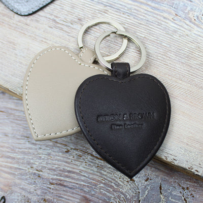 Smooth Nappa Leather Heart Key Ring