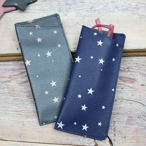 Star Print Large Leather Glasses Case