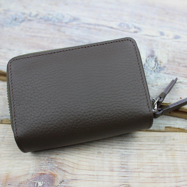 Leather Double Zip Card Purse