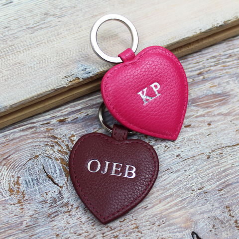 Textured Nappa Heart Key Ring