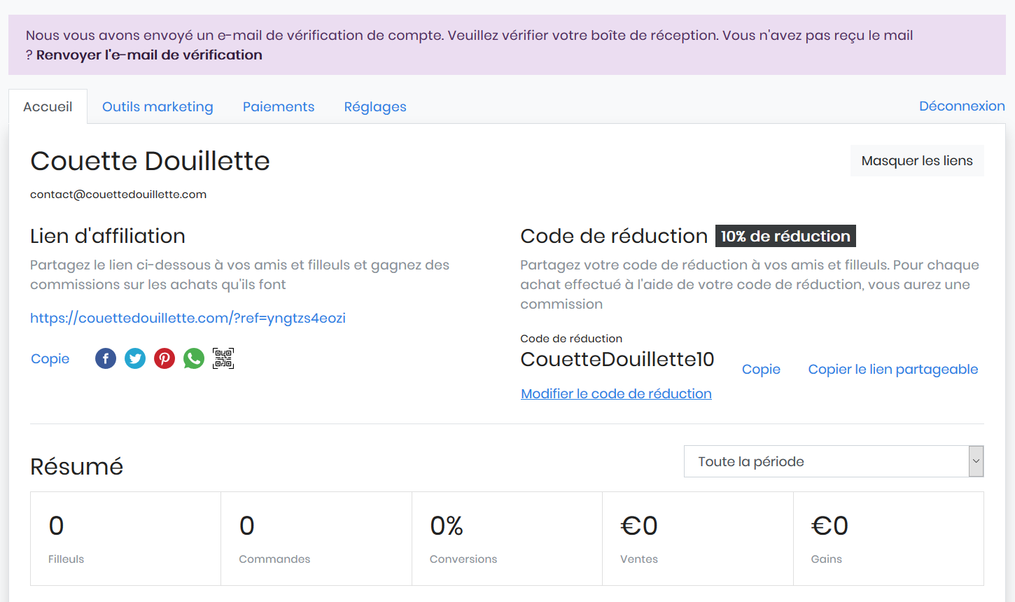 Dashboard affiliation couettedouillette