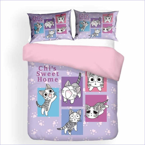 Housse de Couette Chaton Manga fille - couettedouillette