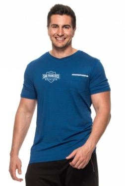Men's SS Pocket V-Neck Tee - Blue 'Shield Design' - SF Marathon