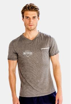 Men's SS Pocket V-Neck Tee - Grey 'Shield Design' - SF Marathon