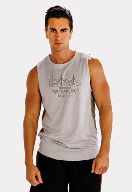 Men's Wide Strap Tech Mesh Tank - Light Grey 'Span Design' - SF Marathon